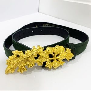 Carlisle suede gold leaves buckle belt Sz Medium